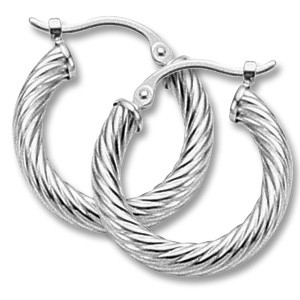 Twisted Tube Hoops - 14KWG