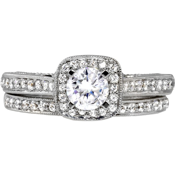 Diamond Bridal Set - Semi-Mount Diamond 14k White Gold