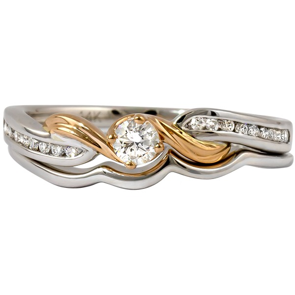 Diamond Bridal Set - 14k White Gold Shank / 14k Yellow Gold Trim