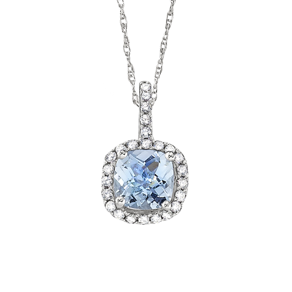 Aquamarine Diamond Halo Necklace
