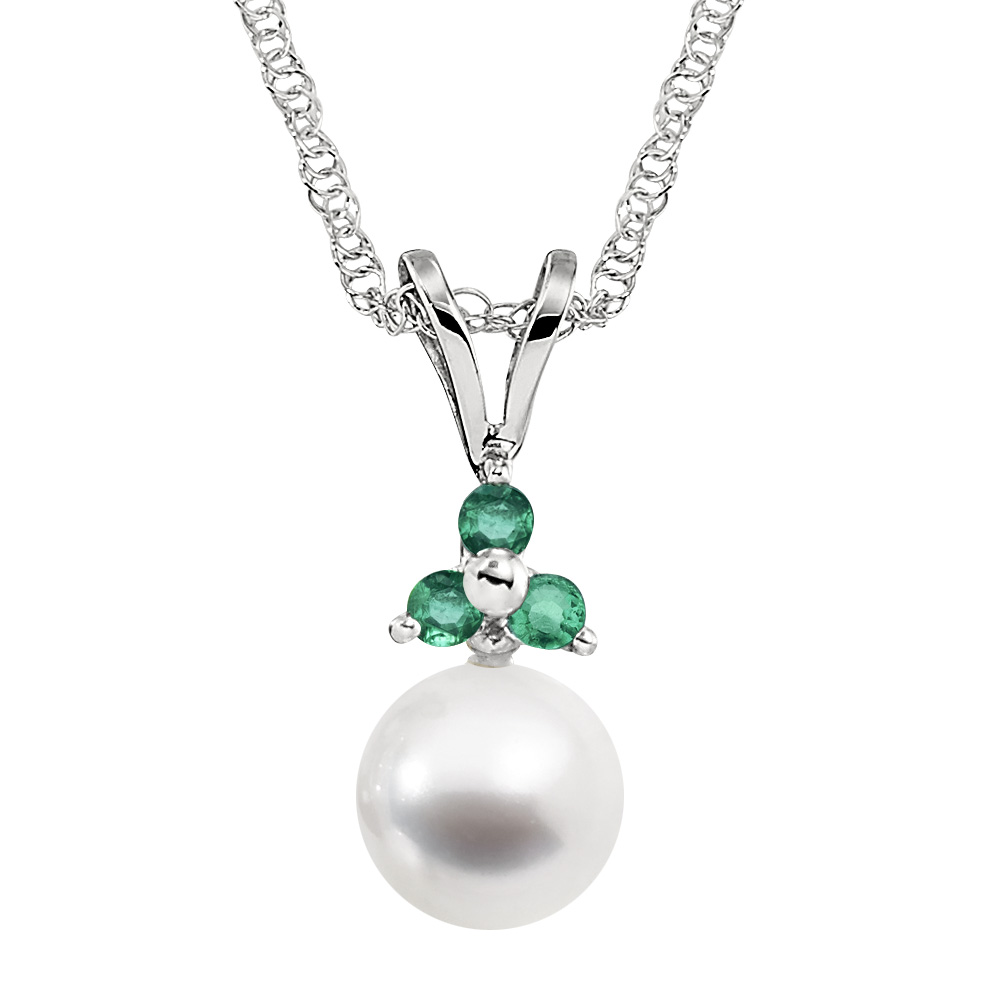 Pearl Drop Necklace - Emerald