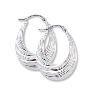 Deep Swirls Hoops in Silver