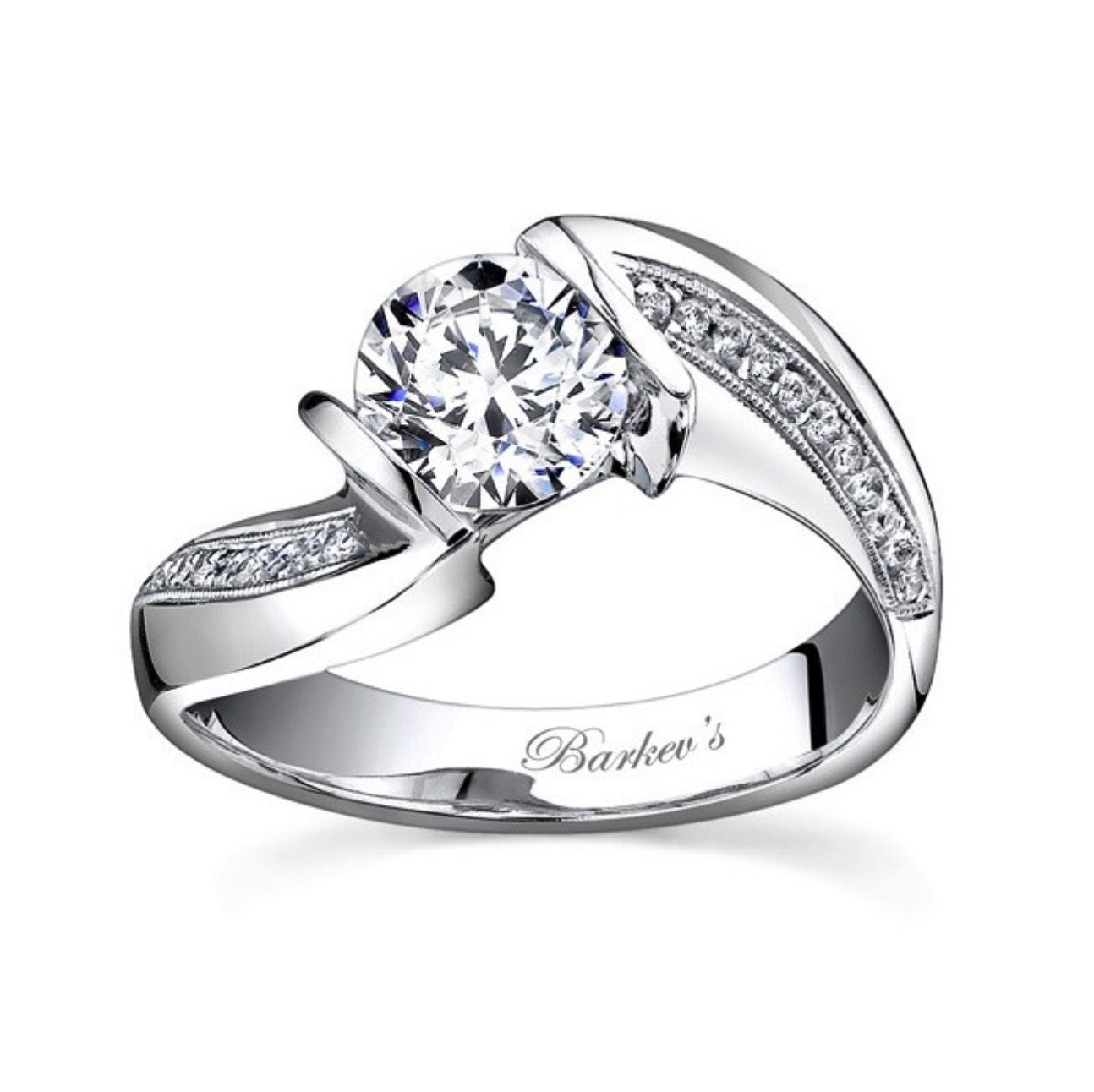 Diamond Engagement Ring - Barkev 14K White Gold Round with Cathedral Shank
