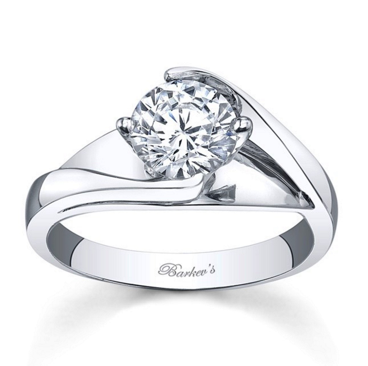 Diamond Engagement Ring - Barkev White Gold Solitaire