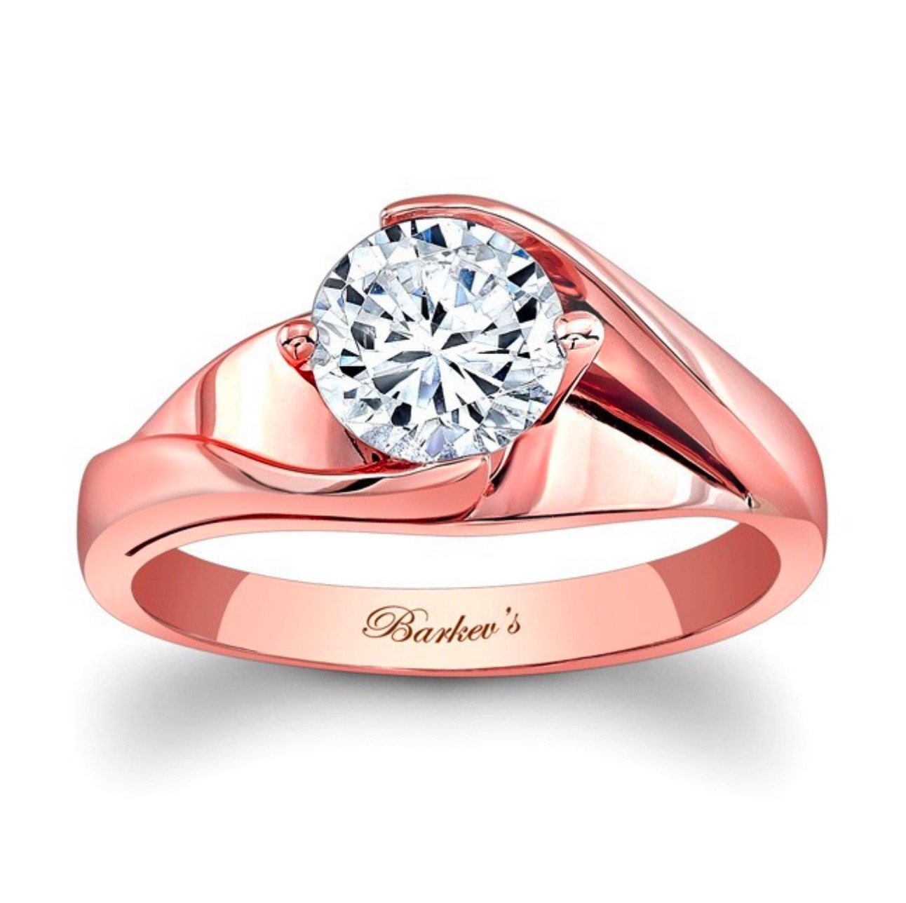 Diamond Engagement Ring - Barkev Rose Gold Solitaire