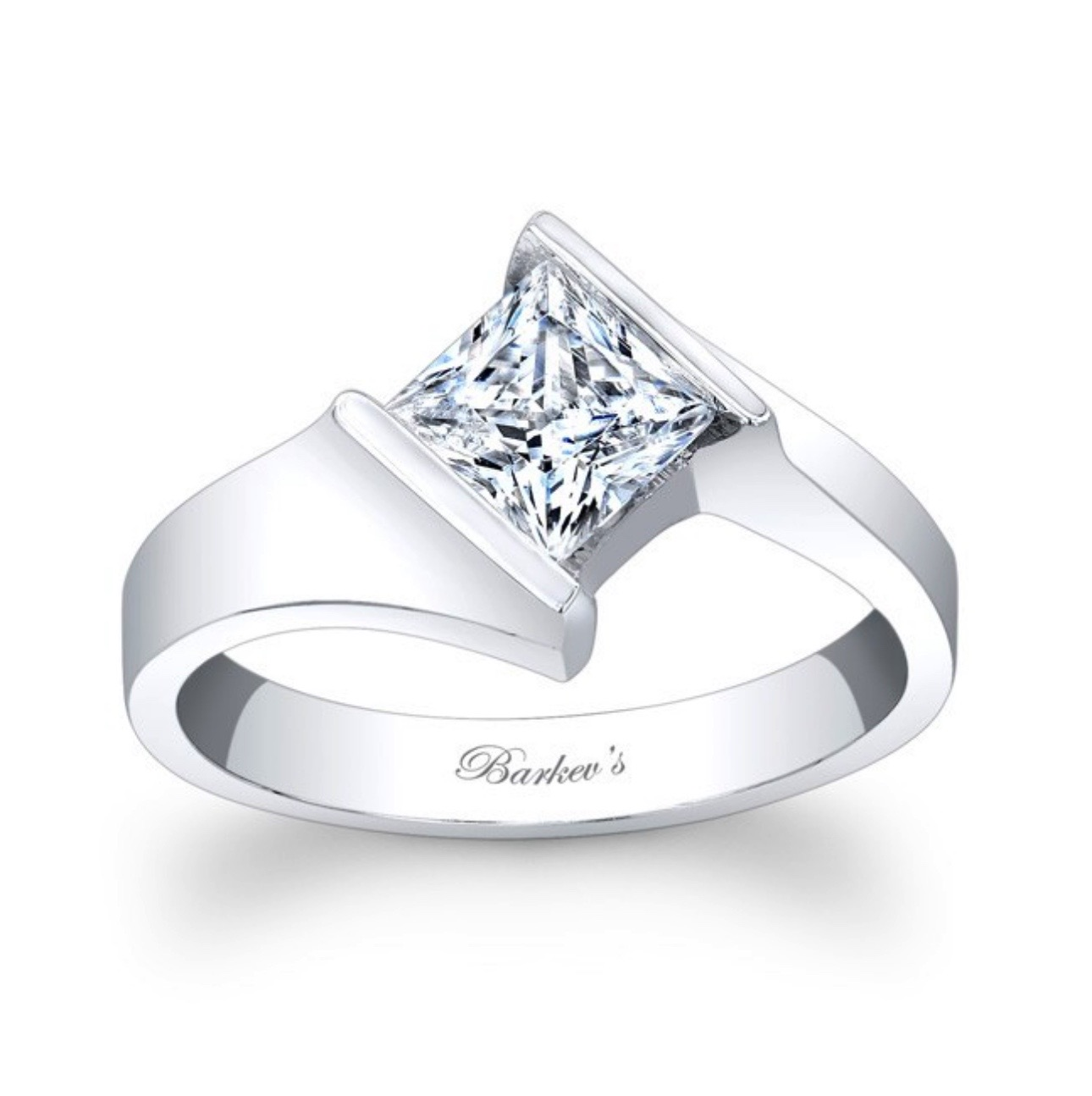 Princess Cut Solitaire Ring - 14K White Gold