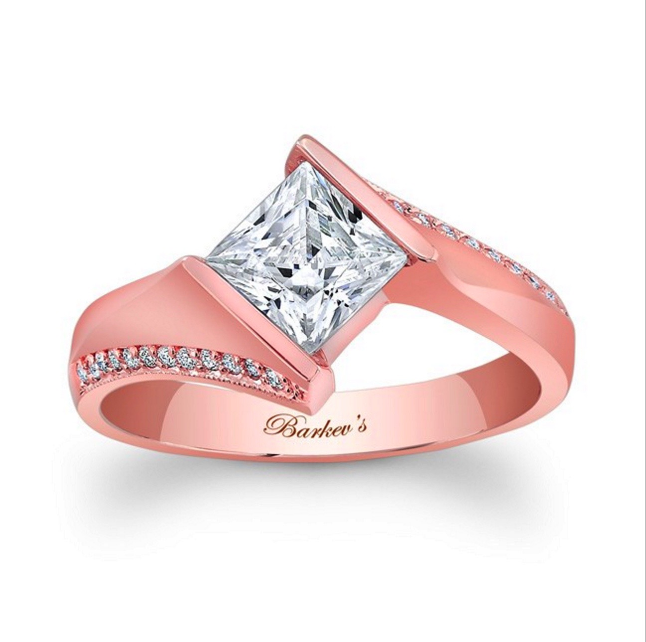 Princess Cut Solitaire Ring - 14K Rose Gold