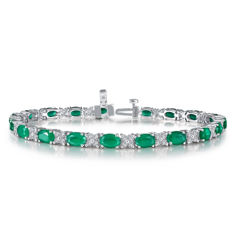 Silver Simulated Diamond and Color Stone Bracelet - Emerald