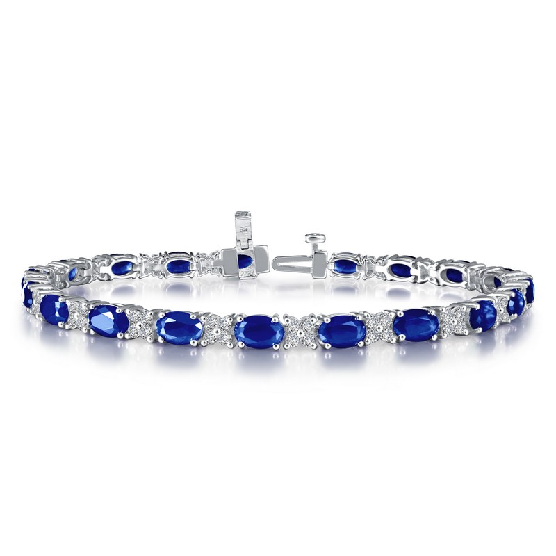 Silver Simulated Diamond and Color Stone Bracelet - Sapphire