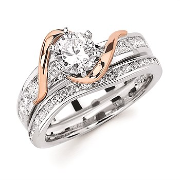 Diamond Engagement Ring - Ostbye 3/4 Ct. Round Center Diamond in 14K White & Rose Gold