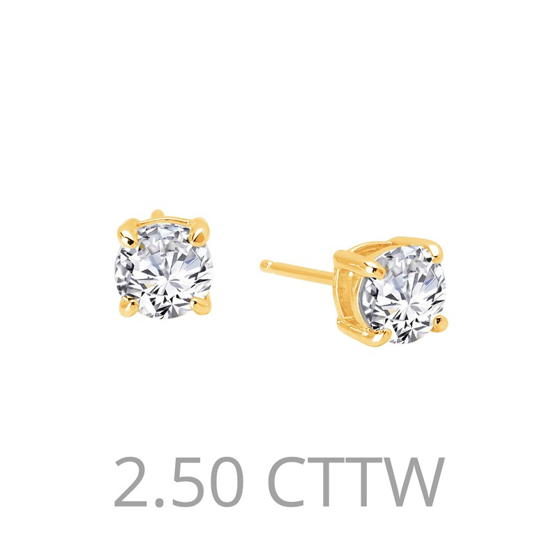 Simulated Diamond Earring - Gold Plated Sterling Silver 2.50 CTTW