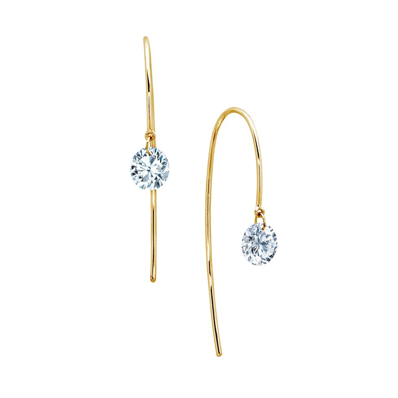 Simulated Diamond Earring - One-Carat Lassaire Simulated Diamond Sterling Silver with Gold