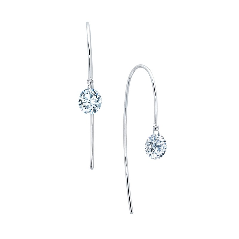 Simulated Diamond Earring - One-Carat Lassaire Simulated Diamond Sterling Silver