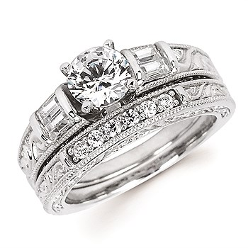 Diamond Engagement Ring - Ostbye 1/4 CTW Baguette Cut Diamond 14KWG