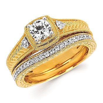 Diamond Engagement Ring - Ostbye 1/2 Ct. Round Center Diamond in 14K Gold