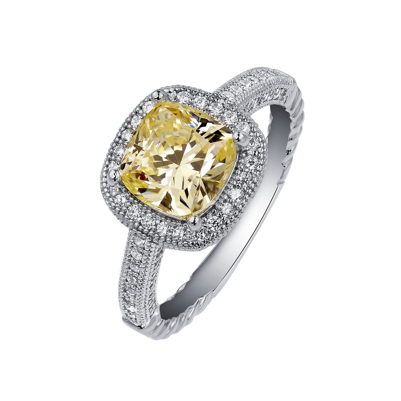 Elegant Simulated Diamond Ring - SS Canary Diamond